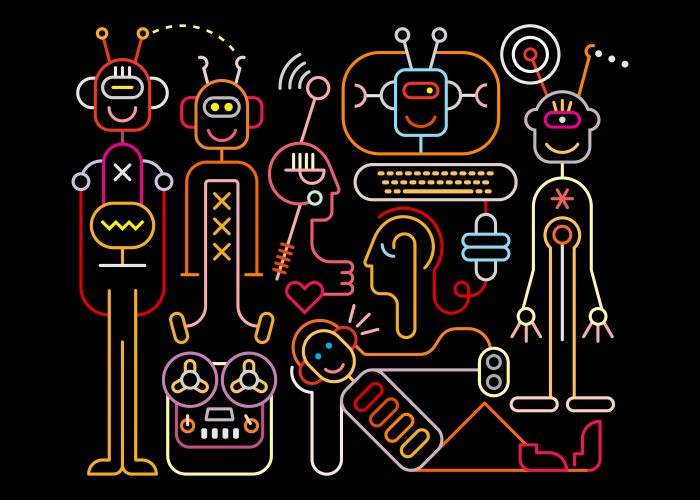 Neon colors on a black background Funny Robots vector illustration.  Welcome to the future, were funny robots will do all the boring job.